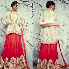 Such a stunner piece by IWS! #Red and #White bridal #Lehenga. #LehengaCholi #Shimmer #Saree #Designer #DesignerBlouse #Occasion #IndianDresses #Partywears #Indian #Women #Bridalwear