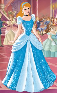 Cinderella with her hair down in her iconic Disney Princess blue ballgown dress Disney Princesses And Princes, Disney Princess Cinderella, Disney Princess Drawings, Disney Princess Pictures, Disney Drawings, Cinderella Musical, Cute Disney Pictures, Images Disney, Cinderella Ballgown