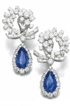 Omega back blue dangle halo solid 925 sterling silver earring cuff cluster drop #NIKI #DropDangle