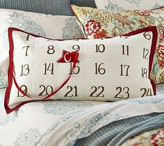 Advent Calendar Lumbar Pillow Cover. I wonder if I could figure out how to make something like this.