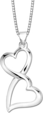 Double heart sterling silver pendant, a perfect gift for person you adore.