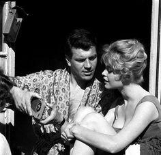 "Brigitte Bardot & Henri Vidal filming ""Une Parisienne"" (1957)"