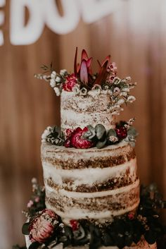 Floral Wedding Cakes A semi-naked cake with rich red natives and dusty grey foliage - delicious! Blush Wedding Cakes, Fall Wedding Cakes, Wedding Cake Designs, Deep Purple Wedding, Mauve Wedding, Wedding Cake Inspiration, Wedding Ideas, Christmas Wedding, Beautiful Cakes