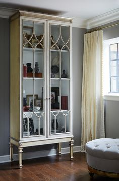 Custom Saville II Cabinet, Custom Drapery, and Theodore Ottoman all by Ebanista @ebanistacollect - Lake Forest Showhouse 2015 ‹ Kim Scodro Interiors http://www.ebanista.com/casegoods/saville-ii-cabinet-900/