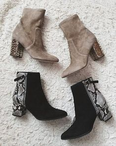Because two pairs are better than one. Which style gets your pick? Heeled Boots, Bootie Boots, Shoe Boots, Ankle Booties, Top Fashion, Fashion Shoes, Style Fashion, Dream Shoes, Crazy Shoes