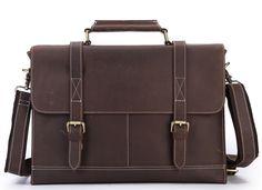 Image of Men's Vintage Cowhide Leather Satchel Briefcase Messenger Laptop Bag Travel Handbag P22