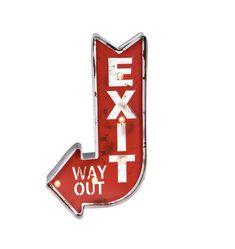 50-luvun tyyliä henkivä punainen EXIT-kyltti, johon saa led-valon sivussa olevalla katkaisijalla. Toimii kahdella AA-paristolla. Koko 23 x 41 cm. Led, Sparkle, Retro, Vintage, Design, Products, Vintage Comics, Retro Illustration