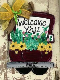 Old truck filled with cotton | Etsy Sunflower Door Hanger, Burlap Door Hangers, Wooden Hangers, Flower Truck, Truck Paint, Monster Truck Birthday, Diy Easter Decorations, Kids Wood, Hand Painted Canvas