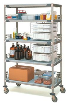 FULLY ACCESSORIZED AND READY TO GO!  The MetroMax i Mobile Laboratory Cart allows you to safely transport items.  Corrosion proof polymer construction, infused with Microban antimicrobial product protection and removable shelf mats for easy cleaning, makes this cart ideal for laboratory or healthcare related environments.  Available in (2) sizes, this cart comes complete with all accessory items as noted and a lifetime warranty against corrosion.