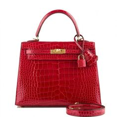 Hermes Braise Kelly in shiny alligator with gold hardware in new or never worn condition with plastic on hardware. Shop authentic Hermes exotic handbags at Madison Avenue Couture. Fall Handbags, Cute Handbags, Beautiful Handbags, Hermes Handbags, Satchel Handbags, Purses And Handbags, Leather Handbags, Bvlgari Handbags, Hermes Bags