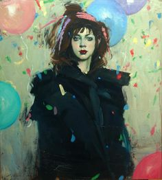 Malcolm Liepke, Balloons and Confetti, 2016, Oil on canvasn 101,6 x 91,4 cm