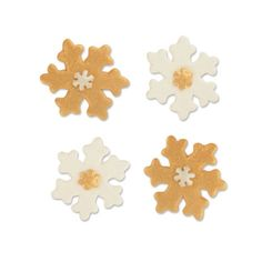 #3284 Tragacanth sugar snowflakes, gold and white