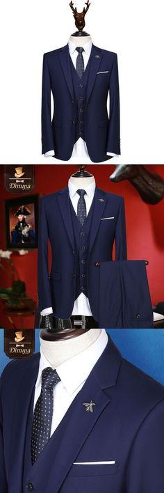 Brand Clothing Gentlemen Blue men suits formal tuxedo wedding suits for men coat+vest+pant business wear slim fit men prom suits #menweddingsuits #mensfitness #mensuits #menssuits