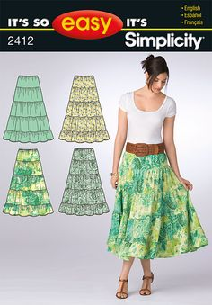 Misses' It's So Easy pull-on tiered skirt #sewing #pattern