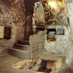 Inside the Tomb of Jesus | flight of stone steps leads down to the tomb entrance hall right and ...