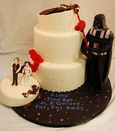 Una tarta de boda diferente... de blog.fiestafacil.com / A, um, different wedding cake... de blog.fiestafacil.com