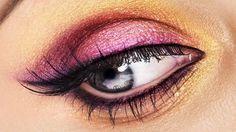 Augen Make-up Ideen in Rosa und Gelb