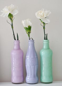 DIY: Coca-Cola bottle + paint = vases i knew my urges to save glass bottles would come in handy for something Bottle Vase, Bottles And Jars, Glass Bottles, Soda Bottles, Diy Bottle, Coke Bottle Crafts, Beer Bottles, Mason Jars, Painted Vases