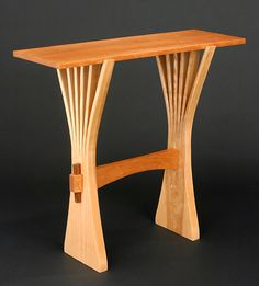 Abanico Table: Ash & Cherry: Seth Rolland: Wood Hall Table - Artful Home