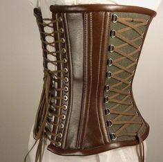 Custom Fantasy steampunk underbust corset, LARP, hemp and synthetic leather. $180.00, via Etsy. (sold)