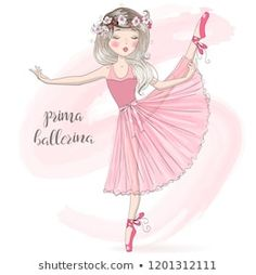 Hand drawn beautiful, lovely, cute ballerina girl with freckles and flowers on her head. Ballerina Drawing, Ballet Drawings, Baby Ballet, Freckles Girl, Fancy Fonts, Chibi Girl, Painting For Kids, Royalty Free Photos, Illustration