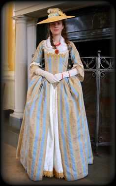 18th Century French Provincial - Colonial Country Style Gown, Dress