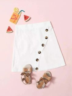 Girls Button Front Solid Skirt – Kidenhouse Jersey Skirt, White Patterns, Printed Skirts, Flare Skirt, Cotton Fabric, Cute Outfits, Buttons, Fashion Outfits, Casual