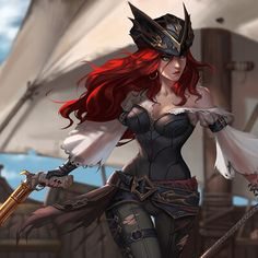 Miss Fortune Fan Art League of Legends Free pattern and Tuto. - Miss Fortune Fan Art League of Legends Lol League Of Legends, Rakan League Of Legends, Katarina League Of Legends, League Of Legends Characters, Fantasy Character Design, Character Inspiration, Character Art, Miss Fortune, Pirate Art