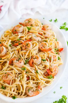 Shrimp Scampi Lingiuni recipe - 20 minute classic Italian shrimp dish on top of…