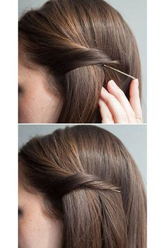 Bobby Pin Tricks - Hair Hacks - Twist your hair, and slip your bobby pin underneath to secretly pin back your strands.If you're looking for a way to pull Coiffure Hair, Corte Y Color, Tips Belleza, About Hair, Pretty Hairstyles, Simple Hairstyles, Open Hair Hairstyles, Simple Hairdos, Pulled Back Hairstyles