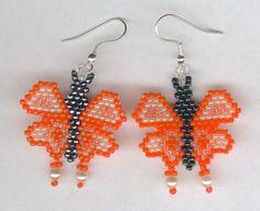 Hand Beaded Orange & Peach Butterfly Earrings by FoxyMomma on Etsy