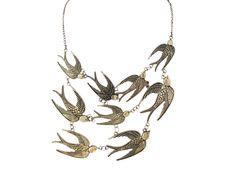Statement Kette Hochwertig verarbeitet Antik Bronze mit tollen Vogel Anhängern 50cm + 6cm Verl.