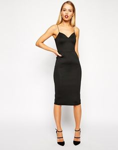 ASOS Scuba Deep Plunge Midi Dress
