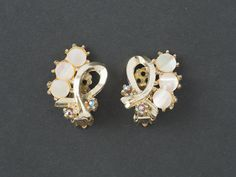 Vintage Clip Earrings  Mother of Pearl and AB from  ShinyShelly