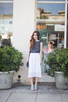 polka dot top with white skirt and blue heels M Loves M @marmar