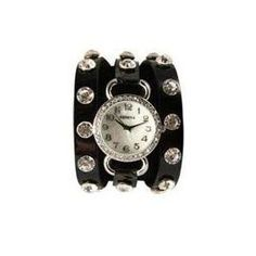 Black Wrap Around Watch with Sparking Crystal Rhinestones Face Bling