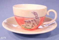 Whittard Hand Painted Cats Tea Cup and Saucer