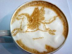 Flying Horse Coffee Art Design // Creative 3D Coffee Latte Art Pictures, Images & Designs