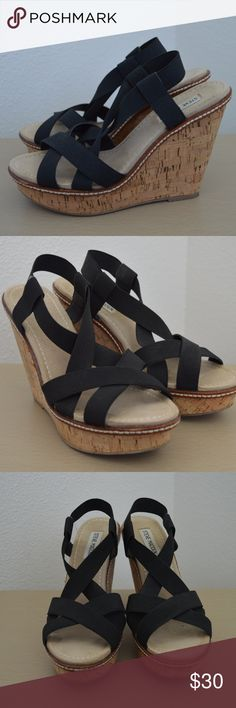 "Steve Madden Bouncce Strappy Cork Wedge sz 7.5 For your consideration is a pair of Steve Madden ""Bouncce"" cork wedge heels in size 7.5.  Black elastic straps.   Worn a handful of times but still in very nice condition! Wedge: 7.5"" Platform: 1.3"" Steve Madden Shoes Wedges"