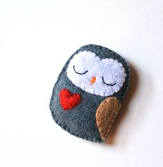 Owl Felt Brooch Blue Grey Owl Red Heart Woodland Owl by mikaart