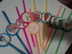Bubble Guppies Birthday Straws Party Favor Decoration personalized