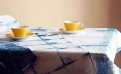 In this tutorial, you'll learn how to use the itajime shibori technique to create a contemporary checkered tablecloth in three gorgeous variations. Checkered Tablecloth, Shibori Techniques, House Built, Contemporary, Diy, Crafts, Batik, Home Decor, Tie Dye