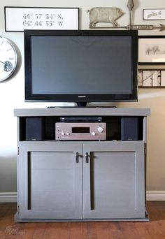 DIY TV Console Project Tutorial: Build your own living room tv storage using plywood, Elmer's Wood Glue Max, and simple tools.
