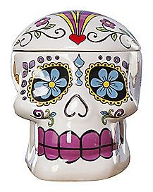 Sugar Skull Cookie Jar - This ornate skull-shaped jar has colorful sugar skull details, and is a great addition to your Halloween kitchen scheme.