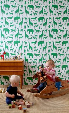 Animal Wallpaper in green - great for an accent wall in the playroom!