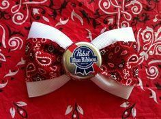 PBR bandana paisley red white rockabilly hair bow by ClassyNTrashy, $10.00