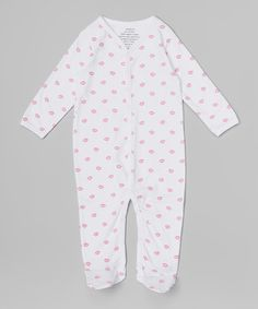 Look what I found on #zulily! White & Pink Lips Organic Footie - Infant #zulilyfinds