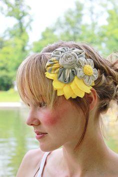 Flower Cluster Headband - Yellow, Gray and Tan. $30.00, via Etsy.