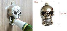 Skull wall-mounted bottle opener. Compact design, still a solid beer bottle opener! Rock n roll! http://livelikearockstar.us/
