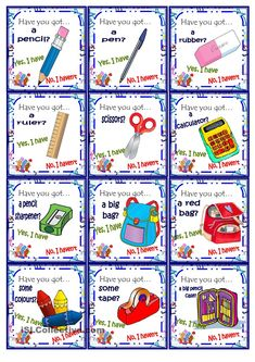 """ESL worksheet of the day to practice """"have you got"""" and school objects by Lili27. April 16, 2015"""
